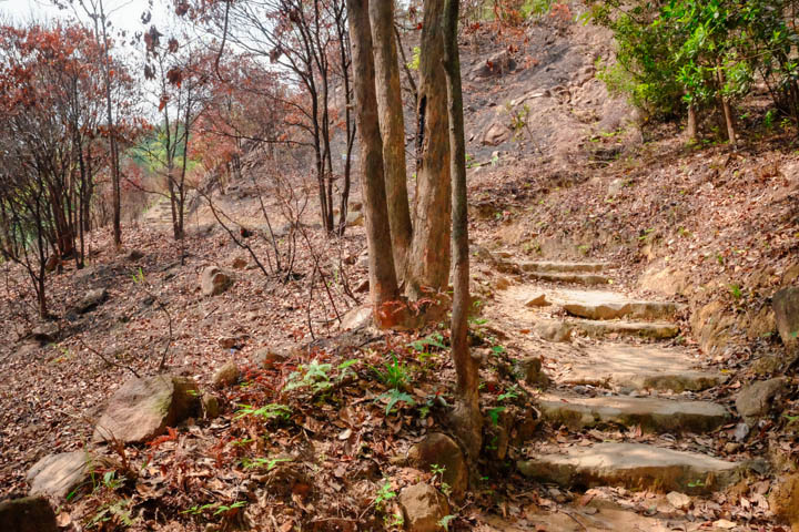 The rock steps and dirt path upon leaving Golden Hill Road
