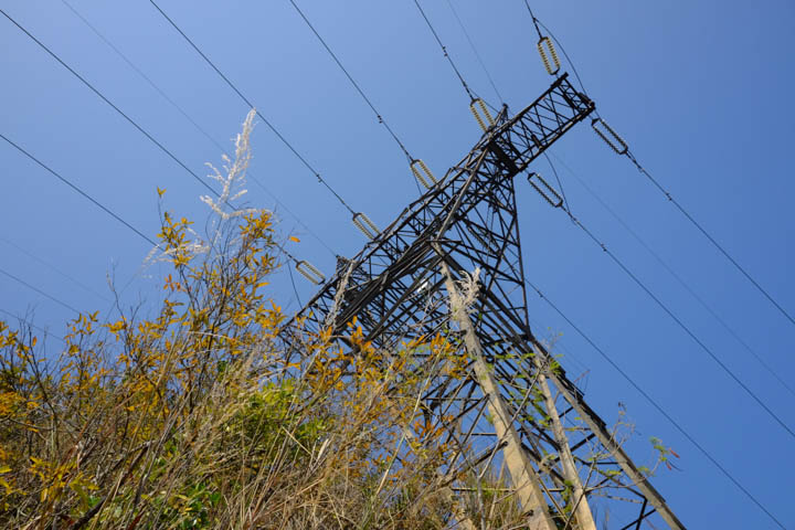 The trail gets up close with transmission towers